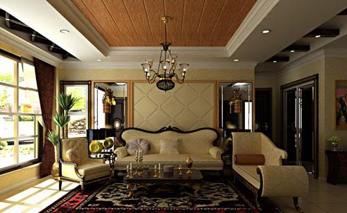 美式風格客廳,廚房,餐廳