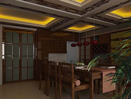 中式风格客厅 厨房 餐厅 卫生间装修效果图