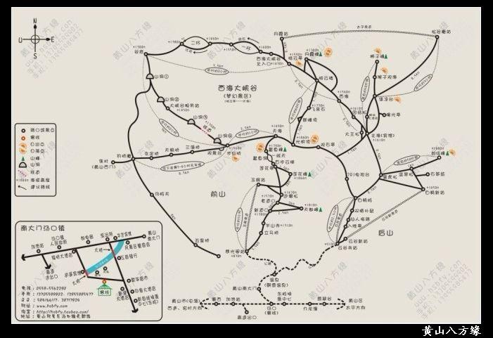 黄山八方缘自制景区手绘地图