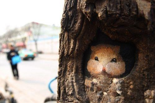 """女孩手绘树洞画轰动全国,""""感动冬天"""""""