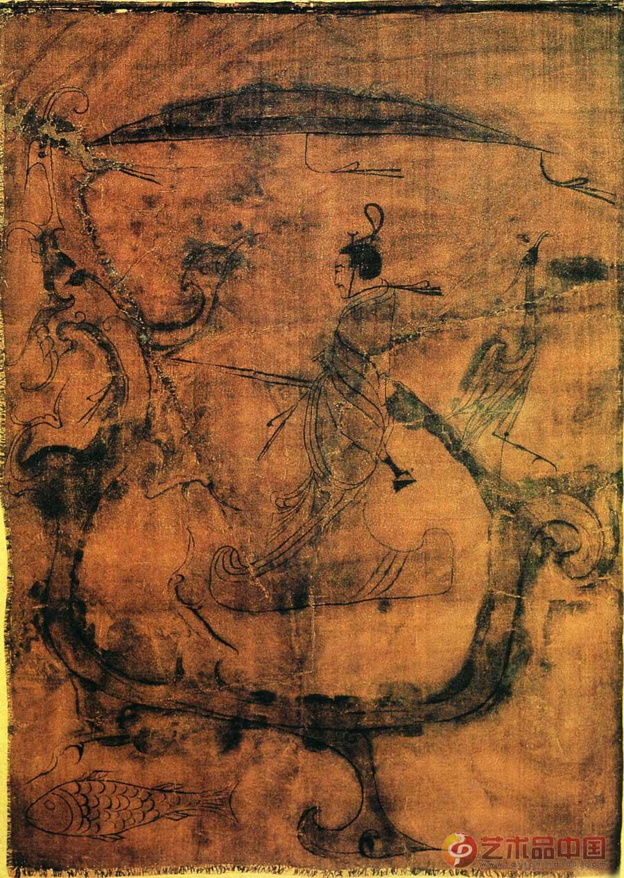 人物御龙图; 仙鹤; 中国国画