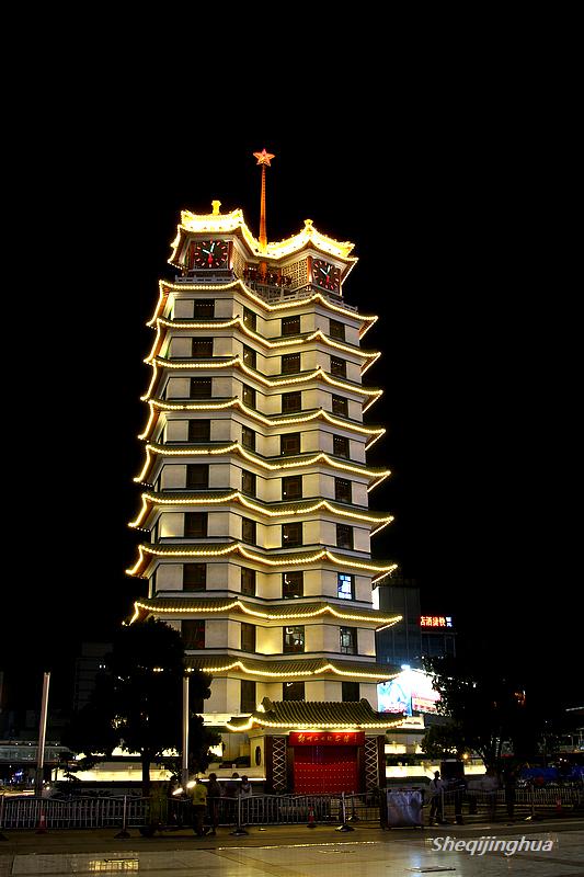二七纪念塔夜景