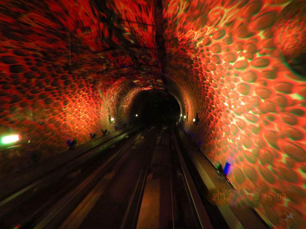 外滩观光隧道是世界上最先进的无人驾驶自动控制系统,是我国第一条越江行人隧道。隧道内运用高科技手段演示历史,人文,风景等各种图案,景象和背景音乐。各种奇异的色彩变幻不停,引人遐想,带有极强的刺激性和娱乐性,产生身临其境的震撼。省略拍摄了一组隧道景观变幻的片片,和大家共同分享。