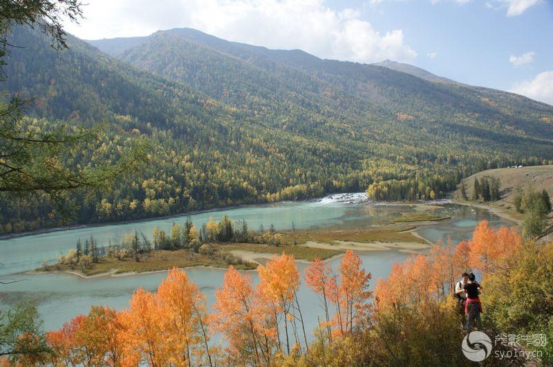 中国山河风景背景图片