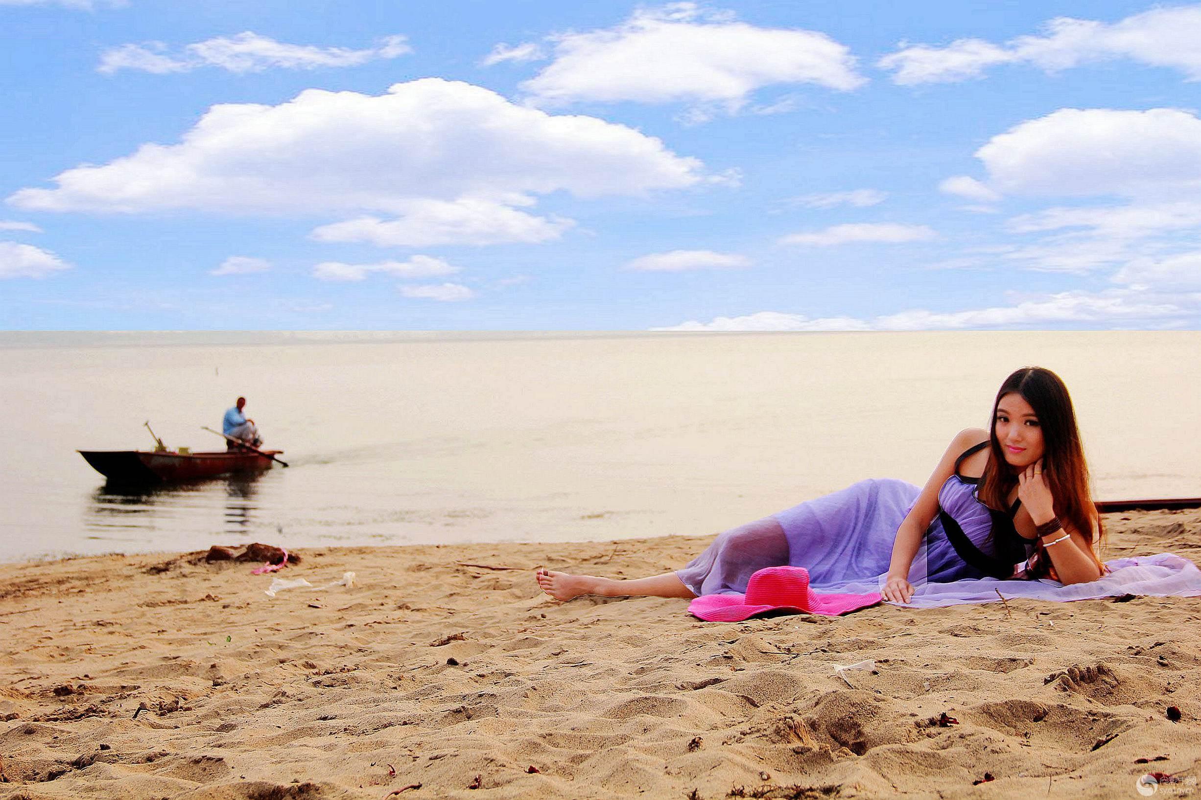 沙滩简笔画 漂亮