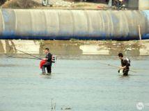 2016.4.10白河第一橡胶坝附近有人在电鱼,还有人下网