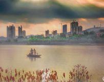 龙泉湖的霞光