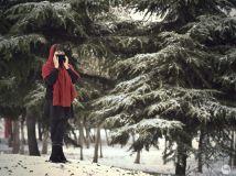 雪中红围巾