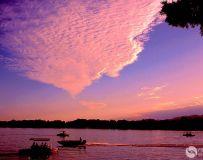 昆明湖上的晚霞