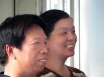 阳光灿烂的香山枫叶老师和老白河老师