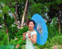 白河湿地旗袍秀。光影中国网南阳白河湿地采风记实