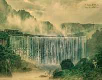 烟雨低坑瀑布