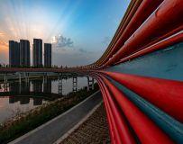 《新桥卧湛河,日出送霞光》